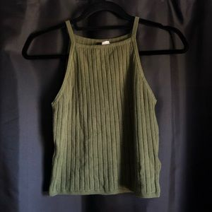 H&M Ribbed Olive Tank Top